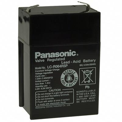 Аккумулятор свинцово-кислотный Батарея акк.свинц. 6В 4,5Ач Panasonic LC-R064R5P (фото, вид 1)