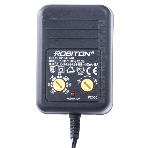 Адаптер/блок питания Robiton PC500 500мА BL1 NS-0.5-12/1.5/1.5 (фото, вид 2)