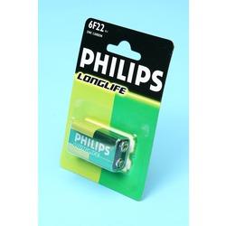 Батарейка бытовая стандартных типоразмеров PHILIPS LONGLIFE 6F22 BL1