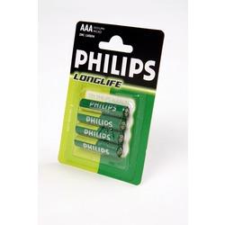 Батарейка бытовая стандартных типоразмеров PHILIPS LONGLIFE R03 BL4