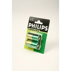 Батарейка бытовая стандартных типоразмеров PHILIPS LONGLIFE R14 BL2