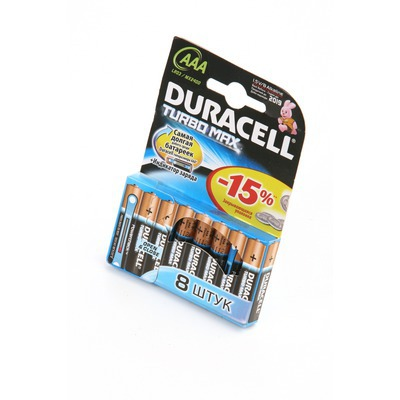 Батарейка бытовая стандартных типоразмеров DURACELL TURBO MAX LR03 BL8