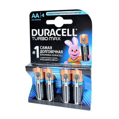 Батарейка бытовая стандартных типоразмеров DURACELL TURBO MAX LR6 BL4 NEW