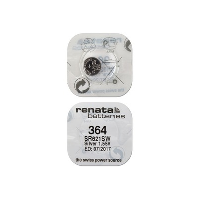 Батарейка серебряно-цинковая часовая RENATA SR621SW 364, в упак 10 шт