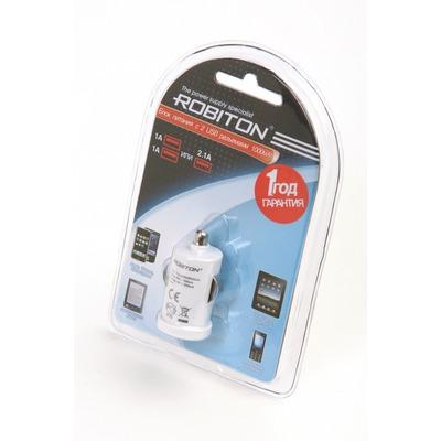 Адаптер/блок питания автомобильный ROBITON TwinUSB1000/AUTO 1000мА с 2 USB входом BL1