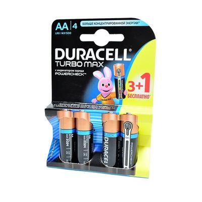 Батарейка бытовая стандартных типоразмеров DURACELL TURBO MAX LR6 3+1 бесплатно BL4 NEW