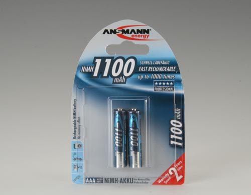 Аккумулятор цилиндрический Аккумулятор ANSMANN 1100 AAA Professional 5035222 BL2