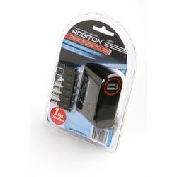 Адаптер/блок питания автомобильный ROBITON K3000S 3000мА с насадками Micro- и Mini-USB BL1