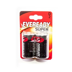 Батарейка бытовая стандартных типоразмеров EVEREADY Super Heavy Duty R20 BL2