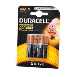 Батарейка бытовая стандартных типоразмеров DURACELL LR03 BL6