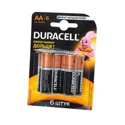 Батарейка бытовая стандартных типоразмеров DURACELL LR6 BL6