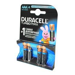 Батарейка бытовая стандартных типоразмеров DURACELL TURBO MAX LR03 с индикатором заряда BL4