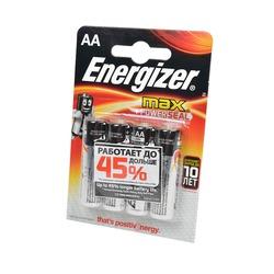 Батарейка бытовая стандартных типоразмеров Energizer MAX+Power Seal LR6 BL4