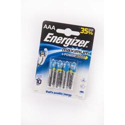 Батарейка бытовая стандартных типоразмеров Energizer Maximum+Power Boost LR03 BL4