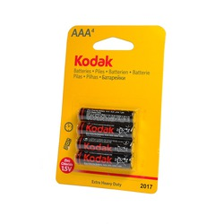 Батарейка бытовая стандартных типоразмеров Kodak Extra Heavy Duty R03 BL4