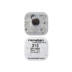 Батарейка серебряно-цинковая часовая RENATA SR716SW 315, в упак 10 шт