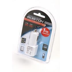 Адаптер/блок питания автомобильный ROBITON TwinUSB2100/AUTO 2100мА с 2 USB входом BL1