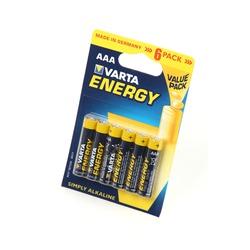Батарейка бытовая стандартных типоразмеров VARTA ENERGY 4103 LR03 BL6